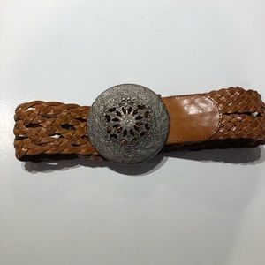 Arden B brown braided bohemian leather belt